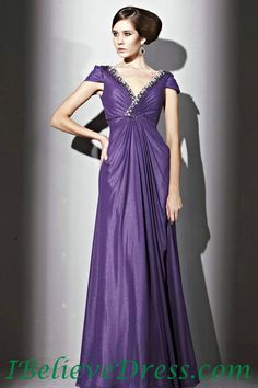 1cdfd7c17f9 Chiffon V Neck Cap Sleeves Empire Purple Long Modest Prom Dress Attire  Online