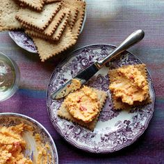 Pimento Cheese with Salt-and-Pepper Butter Crackers - Chef Carla Hall makes her own crunchy crackers to serve with her cheese spread, a riff on a Southern classic. http://www.foodandwine.com/recipes/pimento-cheese-salt-and-pepper-butter-crackers?xid=NL_DAILY122415PimentoCheeseWith