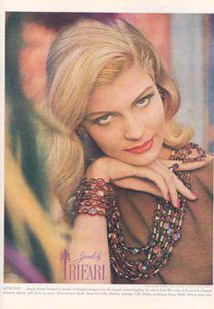 "1963 - TRIFARI - ADS - ""Avignon Collection"" - AVIGNON ... beads,   ---------------- Harper's Bazaar 1963"
