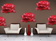 Rose Heads Wall Mural Decal - Beautiful Wall Decal Murals - Primedecals