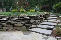 Landscape & Natural Boulder Wall & Stone Staircase in Orange County, NY: Landscaping with Natural Rock Wall & Stone Staircase in Warwick, Orange County , NY.