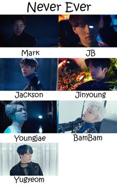 "The members of GOT7 in the ""Never Ever"" MV"