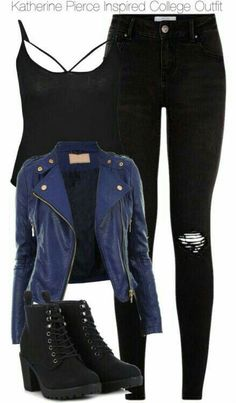 Katherine Pierce Inspired College Outfit Katherine Pierce In. Katherine Pierce Inspired College Outfit Katherine Pierce Inspired College Outfit by staystronng Bad Girl Outfits, Teen Fashion Outfits, Edgy Outfits, Swag Outfits, Cute Casual Outfits, Outfits For Teens, Preppy Fashion, Fashion Black, Fashion Fashion
