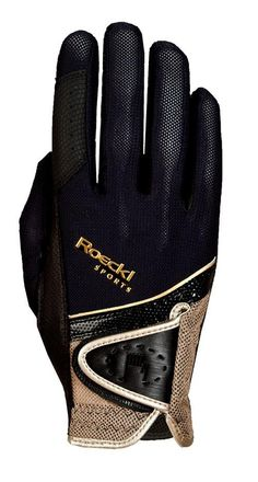 Roeckl Black and Gold Madrid Riding Glove - 7.5