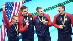 NBC Olympics @NBCOlympics  9h9 hours ago Rio de Janeiro, Brazil   #Gold  USA Swimming, Michael Phelps, Nathan Adrian and 2 others