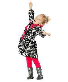 Black Paint Rose Ruffle-Collar Coat - Infant Toddler & Girls