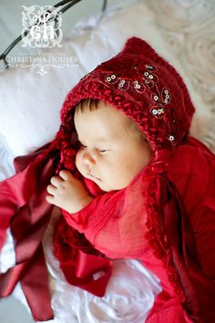 Red Lace Pixie Bonnet Newborn Hat Photo Prop by kirinati on Etsy, $23.00