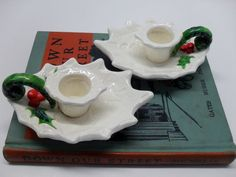 Vintage White Holly Candle Holders by Lefton by SuburbanVintage