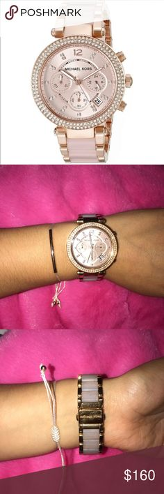 """Michael Kors """"Parker"""" watch Rose gold-tone blush color, comes with box and links. Band and face are a little scratched, also band is a little dirty which can be cleaned but just haven't had time to do so. Michael Kors Accessories Watches"""
