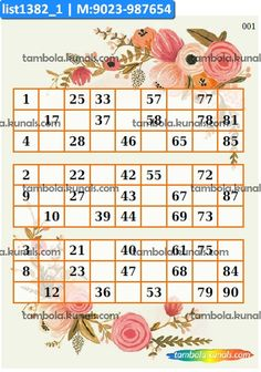 Floral Classic Triplet in theme Flowers as Triplet kukuba under product group Tambola Housie. Free Printable Bingo Cards, Free Printables, Bingo Card Generator, Kitty Games, Gold Ornaments, Different Games, Floral Theme, Cat Party, Triplets