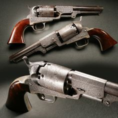Presentation Engraved Colt Dragoon Revolvers  - Presented to George Hess, a member of Company C of the Mounted Rifles, this engraved set was part of the 10,500 gun production run of the 3rd Model Dragoon model by Colt from 1851 to 1861.  But there couldn't have been many others to match this set. At the #NRA National Firearms Museum in Fairfax, Virginia.