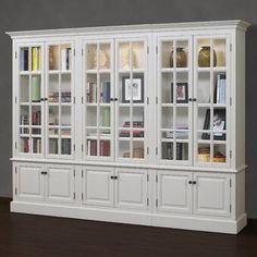A&E Wood Designs French Restoration Brighton Oversized Set Bookcase Floor To Ceiling Bookshelves, White Bookshelves, Bookcases, Floor To Ceiling Cabinets, Design Hall, Bookcase With Glass Doors, Glass Shelves, Floating Shelves, Shaker Style Doors