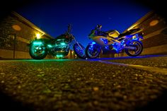 LEDGlow's Advanced Million Color Motorcycle LED Light Kit features ultra-bright, surface mounted RGB LED technology that will give any bike a custom, head tu. White Motorcycle, Motorcycle Lights, Motorcycle Gear, What Dreams May Come, Led Light Kits, Led Headlights, Cbr, Bike Life, Monster Trucks