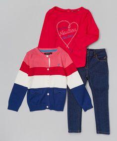 Look at this #zulilyfind! Pink Stripe Cardigan Set - Infant, Toddler & Girls #zulilyfinds