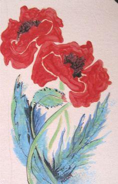 E.Sue McCoy: poppy tile,  6 x 12