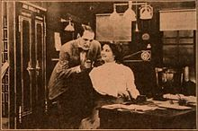 Still from the 1910 silent film Dots And Dashes.  The film is lost.