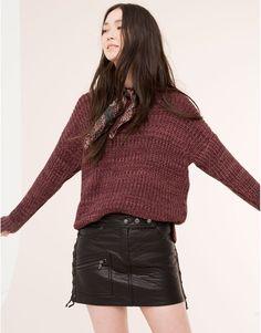 Pull&Bear - femme - jupes - jupe simili cuir cordon côté - noir - 09398307-I2015
