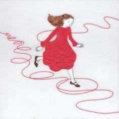 『誰かにつながる赤い糸 7』(シリーズ作品) アクリル絵具・トレーシングペーパー 15cm×15cm