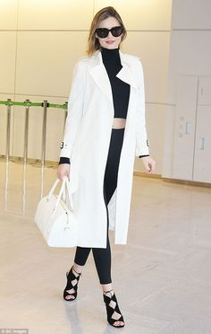 Fresh-faced: Miranda Kerr showed no signs of jetlag as she touched down in Tokyo, Japan on Tuesday