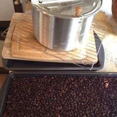 Just finished roasting another batch of coffee beans using a Whirly-pop popcorn maker.