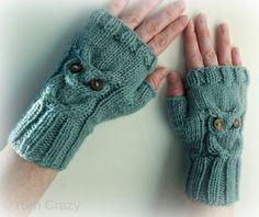 Owl Fingerless Mittens // Cable Knit Fingerless par naturegirlknits, $33.75