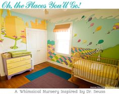 I love this, but maybe a little too busy for a child's room, in my opinion. LOVE Dr. Seuss tho and love the inspiration and artwork!   oh the places you'll go nursery dr. seuss inspired.