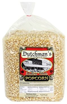 Dutchman's White Hulless Popcorn: Medium Virtually Hulless Popcorn Kernels for Popping in Microwave, Air Popper, Stovetop - Non GMO and Gluten Free Gourmet Popping Corn - 4 Pound Refill Bag White Popcorn, Best Popcorn, Popcorn Kernels, Microwave Popcorn, Gourmet Recipes, Snack Recipes, Snacks