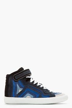Pierre Hardy Blue Suede Banded High-top Sneakers for men | SSENSE