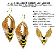 Bee on Honeycomb Russian Leaf Earrings   Bead-Patterns.com