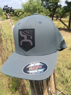 Gray fitted Flexfit Hat Gray HOOey Golf Man design on black rubber crest  Back of the bfba60c661f1