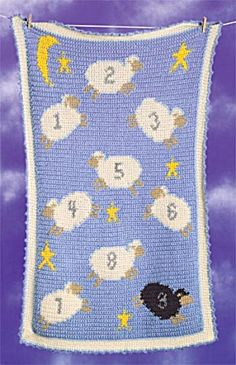 For the crochet and sheep lover in me: Counting Sheep Afghan. Knit pattern with chart that could easily be crochet