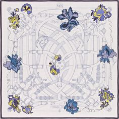 "55"" x 55"" shawl Hermès   Cavalcadour Fleuri"