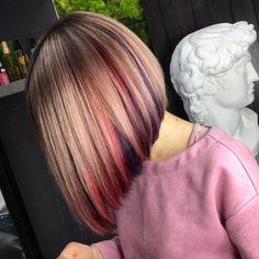 Peekaboo Hair Colors, Peekaboo Highlights, Blonde Hair With Highlights, Inverted Bob Hairstyles, Hairstyles Haircuts, Cool Hairstyles, Black Hairstyles, A Line Haircut, Haircut For Thick Hair