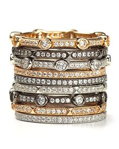 Crislu micro pave octagon stack rings