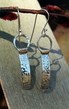 Floral Textured Sterling Silver Fill on Brass Earrings  - FREE SHIPPING. $30.00, via Etsy.
