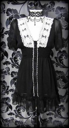 Romantic Goth Black Sheer Ruffle Lace Front Tea Dress 8 10 S Victorian Vintage | THE WILTED ROSE GARDEN on eBay // Worldwide Shipping Available