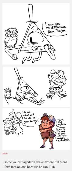 Art by cirilee on tumblr <- I think the last drawing is very cute #GravityFalls #Owl #Ford #Dipper