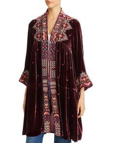 Ravi Embroidered Velvet Tiered Kimono - Red - Johnny Was Coats Boho Kimono, Kimono Top, Boho Fashion, Fashion Dresses, Romantic Fashion, Indian Fashion, High Fashion, Johnny Was Clothing, White Fur Coat
