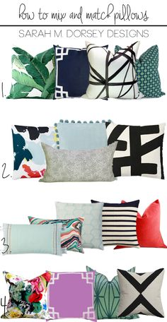 sarah m. dorsey designs: How to Mix and Match Pillows My Favorite Combos Eames Design, Casa Mix, Sofa Styling, Home And Deco, Sofa Pillows, Decor Pillows, My New Room, Pillow Design, Home Decor Accessories