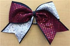 Maroon, White and Black Bow by Empire Cheer
