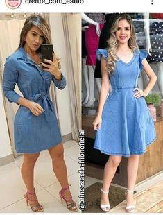 Jean Outfits, Chambray, Denim Jeans, Shirt Dress, Shirts, Dresses, Instagram, Fashion, Cute Short Dresses