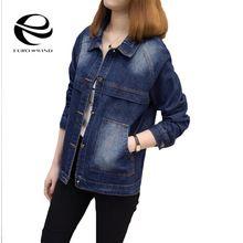 Plus Size 4XL 5XL 2017 Autumn Winter Women Denim Jacket Long Sleeve Short Coat Jeans Jackets For Women Outwear Tops Coats Mujer(China (Mainland))
