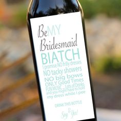Bridesmaids Gifts Will you be my bridesmaid Wedding Wine Labels- Wine Bottle Labels set of 8 maid of honor. If I were to pin one wedding thing, it's this! Wedding Gifts, Our Wedding, Dream Wedding, Wedding Stuff, Wedding Shit, Wedding 2017, Trendy Wedding, Wedding Bells, Wedding App
