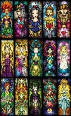 Princess Disney em vitral....quero todasssssss