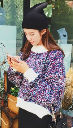 Fashiontroy Hipster & indie long sleeves crew neck purple ribbed-knit asymmetric sweater