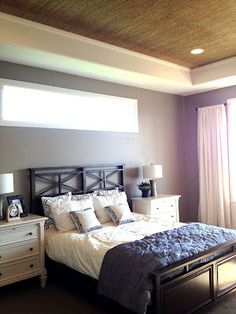 Grasscloth on ceiling... gorgeous!