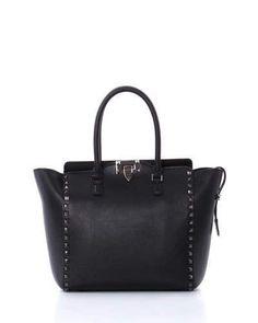 Rockstud Pagoda Shopper Tote Bag, Black by Valentino at Neiman Marcus.
