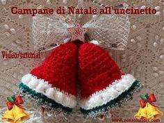 Campane di Natale all'uncinetto Crochet Christmas bells video/tutorial English subtitles - YouTube Christmas Bells, Tutorial, Video, Decoupage, Crochet Hats, Youtube, Ganchillo, Knitting Hats, Youtubers