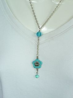 Genuine turquoise flower bead frame Y necklace by LindaGillottiDesigns on Etsy