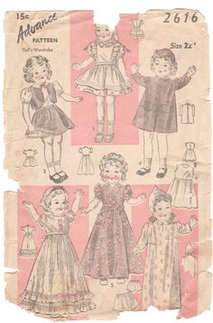 Even dolls have vintage clothes....vintage clothing pattern for dolls